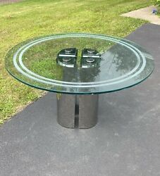 Mcm Four Cylinder Chrome Base Tubular Glass Top Round Dining Conference Table