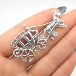 925 Sterling Silver Antique Jewelart Horse Carriage Pin Brooch