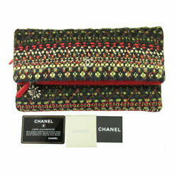 Clutch Bag Cotton Cc Mark Previously Owned Free Shipping No.9232