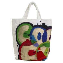Bag Beach Tote Cotton White Multi Colored Previously Owned No.9196