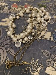 Euc And Isabel Faux Pearl Necklace Antiqued Brass Tone