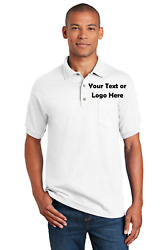 6 Men's Custom Embroidered Short Sleeve Polo Shirts With Your Company Logo, Text