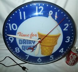 Vintage Pam Clock Co. Usa Dairy Queen Ice Cream Light Wall Art Advertising Sign