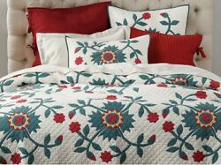 Pottery Barn Maisie Floral King Quilt 3 Euro Shams Holiday Christmas
