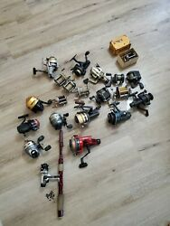 Lot Of 20 Assorted Vintage Fishing Reels Daiwa Zebco Shakespeare
