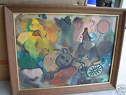 Original Abstract Painting Pig W Girl On Bike Lej Look