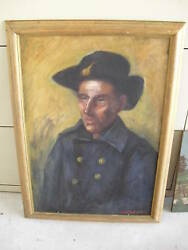 Vintage Oil Painting By Ew Dawson Ny Colonial Soldier