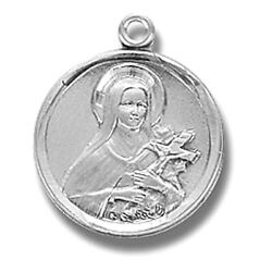 Petite Sterling Silver Small 5/8 Saint St Therese Patron Medal