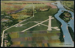 Wilkes-barre Pa Wyoming Valley Airport Vintage Aerial View Postcard Old Linen Pc