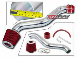 3 Red Jdm Short Ram Air Intake Racing System + Filter For 97-01 Prelude 2.2l L4