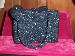 French beaded Paris Charlet evening bag Navy Blue satin change purse 1930s Mint $215.00