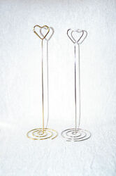 Heart Table Number Holders 23cm Tall In Silver Or Gold Any Quantity - Uk Wedding