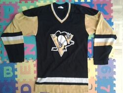 Vintage Sandow Sporting Knit Pittsburgh Penguin Hockey Jersey Size Small S