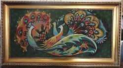 Antique / Vintage Huge 45 X 25 Hand Made Fine Beaded Wall Tapestry Retro 70s