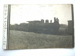 C1910 2 Train, T.p.and W. Toledo Peoria And Western Railroad Real Photo Postcard