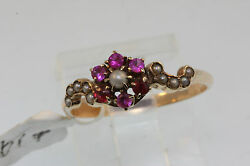 Antique Victorian Late 1800's Pink Colored Stones And Seed Pearls Ring S 7.25 10k