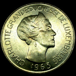1963 Luxembourg Silver 100 Francs Charlotte Of Luxembourg Rare High Grade Coin
