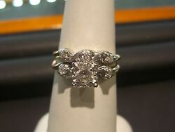Antique - Vintage Diamond 14 Karat Engagement Ring Set From 1930and039s Wow