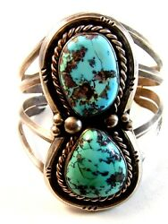 Native American Sterling Silver And Turquoise Cuff Bracelet By Manuel Hoyungowa