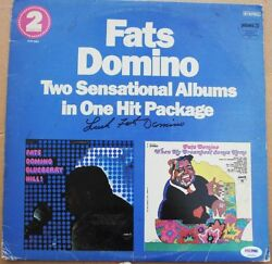 Fats Domino Signed Lp Album Cover Two Pack Psa/dna Auto