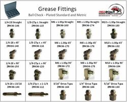 Grease Zerk Fitting Standard And Metric Assortment 20 Hole Metal Tray New