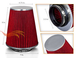 Red 3.5 Inches Inlet 89mm Cold Air Intake Cone Dry Type Truck Filter For Audi