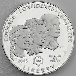 2013 W 1 Girl Scouts Of The Usa Centennial Silver Proof Coin + Mint Box And Coa
