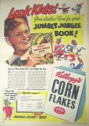 1948 Large Full Pg And Color Kelloggs Cereal Jumbly Jungle Book Premium Offer Ad