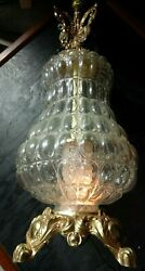 Ef And Ef Industries 39 Tall Brass Pineapple Glass Body Table Lamp Vtg 1972