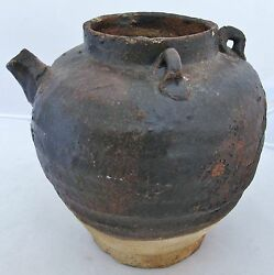 7 Song Dynasty Antique Chinese Temmoku Brown Glazed Earthenware Ewer Or Vessel