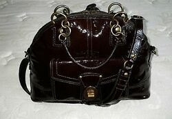 Coach Francine Patent Mahogany Brown Dome Legacy Tote Bag Purse Satchel Wow