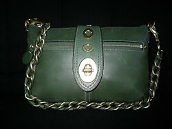 NEW COACH LEGACY TURNLOCK CHAIN BURNISHED GRN LEATHER SHOULDER BAG CLUTCH PURSE