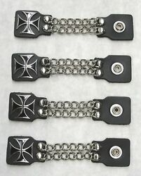 4 Piece Genuine Leather 4 Iron Maltese Cross Vest Extenders Made In The Usa