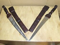 Extremely Rare Pair Of Vintage High Detail Leather Case Daggers 70+yrs Old