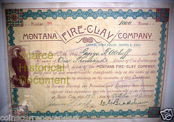 1889 Montana Fire Clay Company Shares Issued And Signed Historical Document