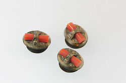 3 Etched Antique Victorian Yellow Gold Filled Red Branch Coral Button Covers