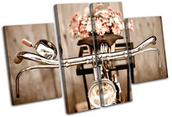 Retro Antique Bicycle Vintage Multi Canvas Wall Art Picture Print Va