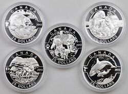 """2013 """"o Canada"""" 99.99 Pure Silver 5-coin Mint Proof Set In Fine Wooden Chest"""