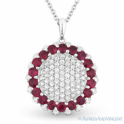 2.04 ct Round Cut Ruby Diamond Circle 18k White Gold Pendant 14k Chain Necklace