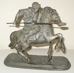 ANTIQUE STATUE KING ON A HORSE FIGHTING ROMAN ? ENGLISH ?