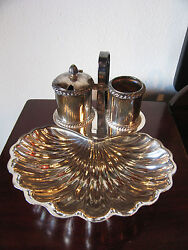 Vtg Antique Gorham Richelieu Silver Plated Shell Form Berry Bowl Sugar And Creamer