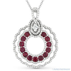 1.78ct Round Cut Ruby Diamond Pave Drop Pendant & Chain Necklace 14k White Gold