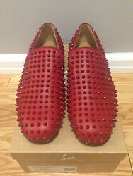Christian Louboutin Rollerboy Spikes Flat In Red