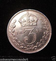 1898 Silver 3 Pence Great Britain Queen Victoria Silver Uk Coin
