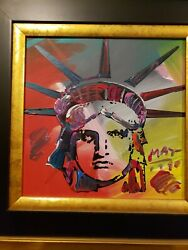 PETER MAX Painting on Canvas 12 by 12 inches Signed Lady Liberty Head Beautiful