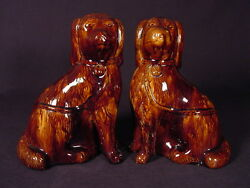 Rare 1800s Matched Pair Of Large Rockingham Glaze Dogs Yellow Ware