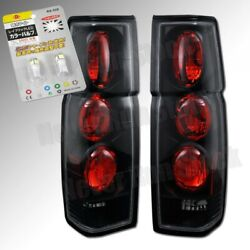 86-97 For Nissan Pick Up Clear Lens Black Tail Lights +white License Plate Bulbs