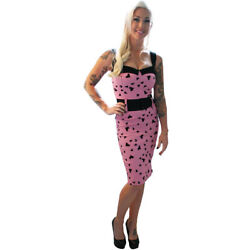 Women's Switchblade Stiletto Pink Heart Darling Dress Rockabilly Retro Pinup