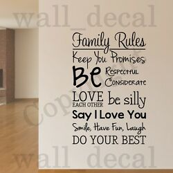 Family Rules Removable Wall Decal Vinyl Decor Words Sticker Home Inspirational