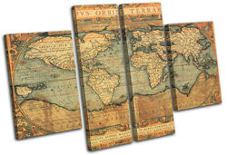 Old World Atlas Maps Flags Multi Canvas Wall Art Picture Print Va